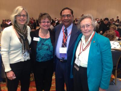 Pictured are: Sue Gray (BS 1980; MS 1990), Marise Robbins-Forbes (ACES Advancement), BB Singh and Dr. Betty Klepper.