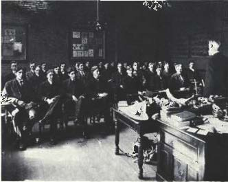 Rapidly growing student enrollments in the College of Agriculture during the early 1900's helped stimulate interest in the formation of a new Agricultural Alumni Association.  Meetings were held in a typical college classroom scene from 1904.